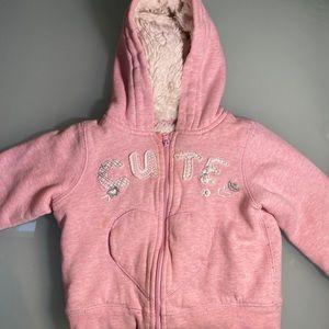 Fur lined 'Cute' hoodie 18-24m